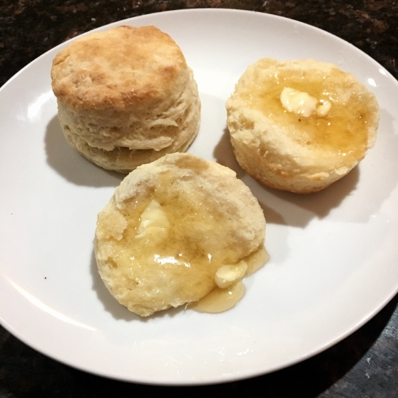 Biscuits with butter and honey